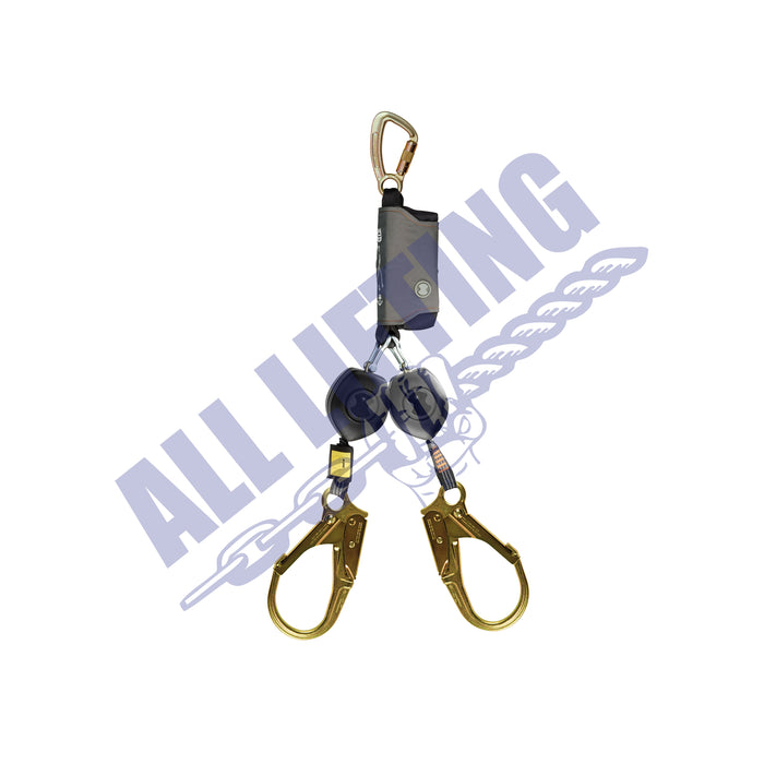 Peanut-twin-retractable-lanyard-with-triple-action-karabiner-and-steel-scaffolding-all-lifting