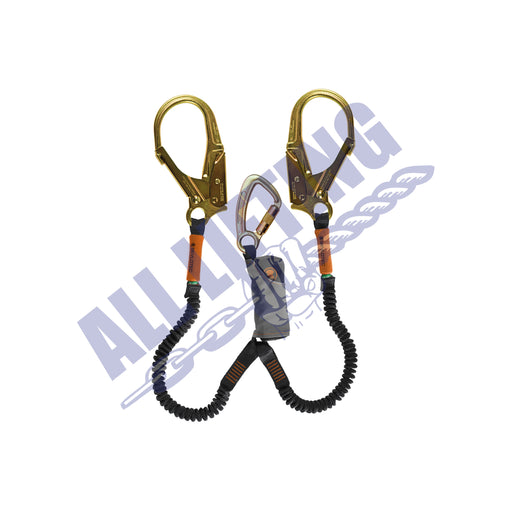 Skysafe Pro Flex Twin Lanyard with Karabiner and Steel Scaff Hook