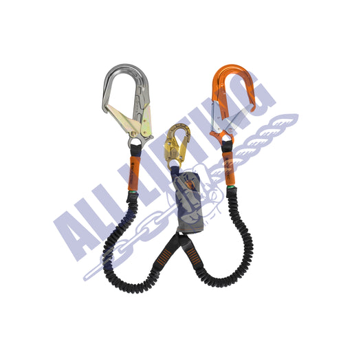 Skysafe Pro Flex Twin Lanyard with Snap Hook and Alu Scaff Hook