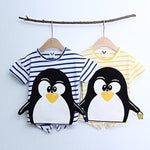 Striped Penguin Tee, unisex clothing, large cute cartoon | Korean Kids Clothes - Imaryakids