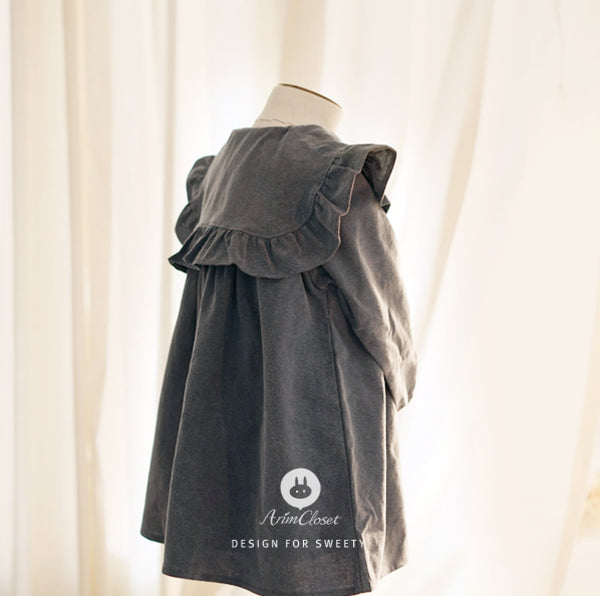 Gray lovely ribbon collar baby cotton dress