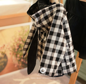 Black Ivory Check Cotton Bunny Baby Jacket
