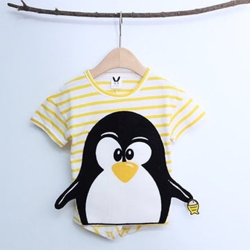 Striped Penguin Tee, unisex clothing, large cute cartoon - Yellow