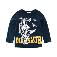 Dinosaur Long Sleeve Tee-Navy | Korean Kids Clothes - Imaryakids