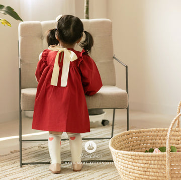 Arim Closet - Big Ribbon Lovely Red Baby Cotton Dress