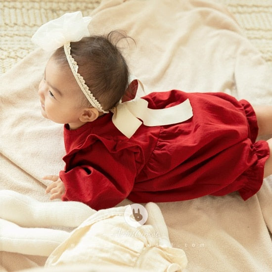 Big Ribbon lovely red cotton baby bodysuit