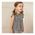 Toddler Girl Black and white grid Blouse