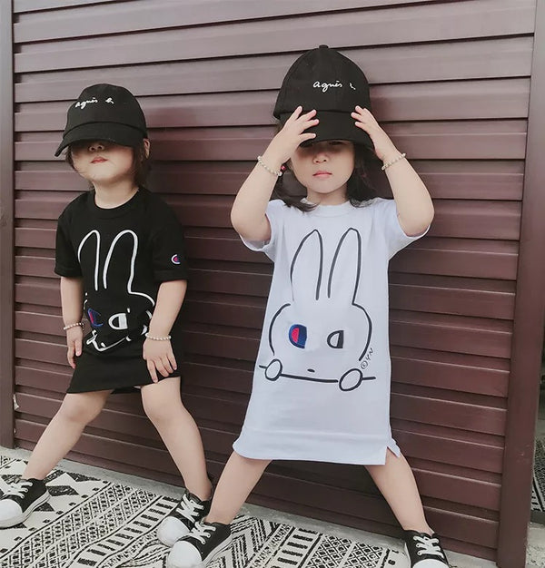 Cham Bunny Dress T (Black/ White) | Korean Kids Clothes - Imaryakids