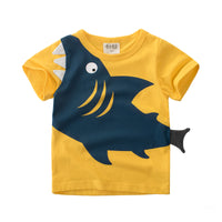 Summer T-Shirt with Shark- Yellow