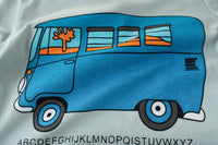 Summer T-shirt with Bus logo - Light Blue