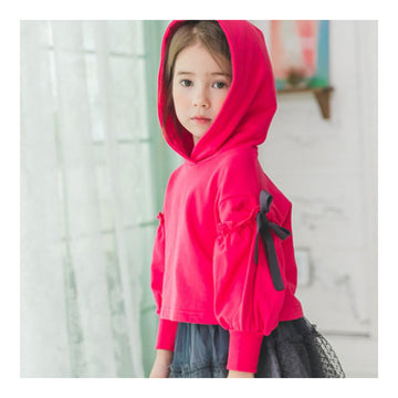 2-9 years Coco Ribbon Hood Tee - Cherry