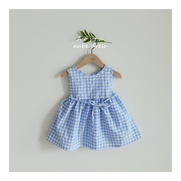 AOSTA Aube Dress - Blue Grid
