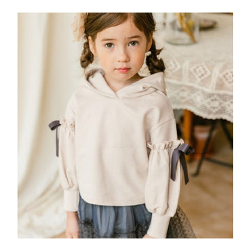2-9 years Coco Ribbon Hood Tee - Beige