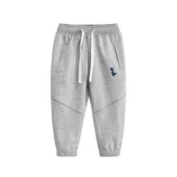 Sporty Pant with Dinosaur Logo - Light Gray