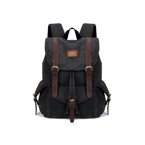 KAUKKO Outdoor School Backpack Travel Casual Hiking Rucksack Retro Canvas Bag ( Black )