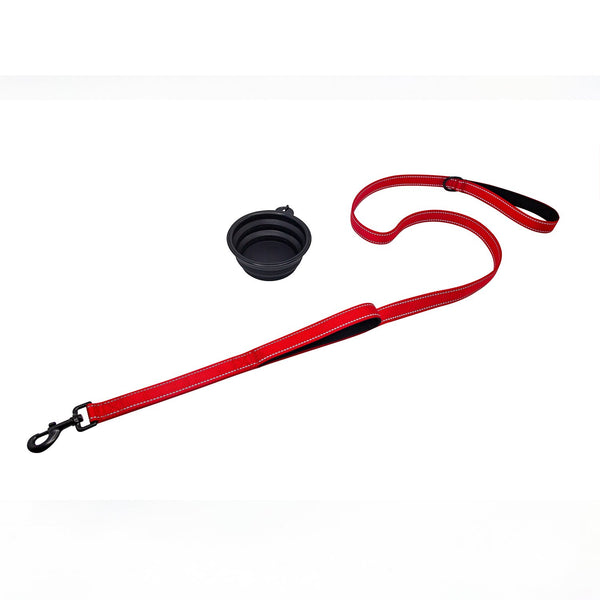 Reflective dog leash with two handles 1.5m / 1.8m with double hand strap for small, medium, large and extra heavy dogs