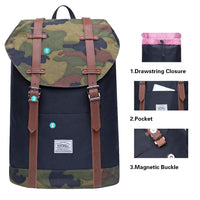 KAUKKO Backpack Women Men Vintage Travel Backpack ( Camouflage )