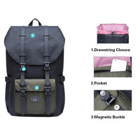 KAUKKO Backpack for city trips, EP5-5 ( Black Green / 20.3L)
