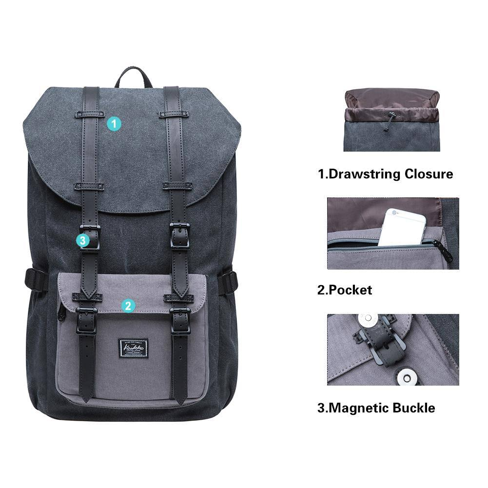 KAUKKO Backpack for city trips, E5-1 ( Black Grey / 22L )