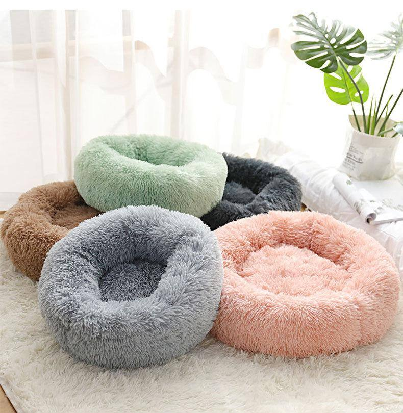Calming Dog Bed & Cat Bed, Warming Cozy Soft Dog Round Bed, Fluffy Faux Fur Plush Dog Cat Cushion Bed for Small Medium Dogs and Cats (40CM/50CM/70CM)