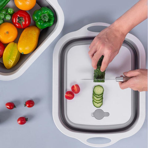 Collapsible Cutting Board with Colander - Washing and Draining Veggies Fruits Food Grade Sink Storage Basket