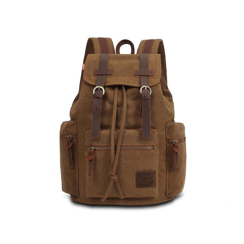 KAUKKO Vintage Casual Canvas and Leather Rucksack Backpack ( Khaki )