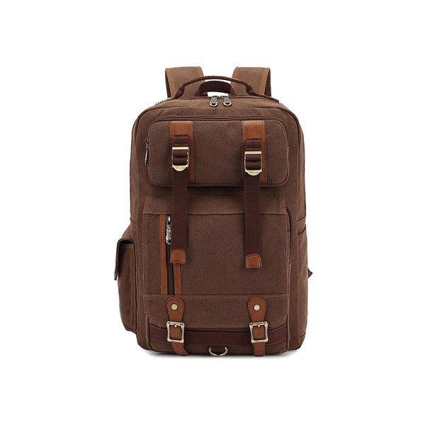 KAUKKO Outdoor Travel Men Backpack, Hiking Camping Canvas Rucksack ( Coffee )