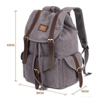 KAUKKO Outdoor School Backpack Travel Casual Hiking Rucksack Retro Canvas Bag ( Grey )
