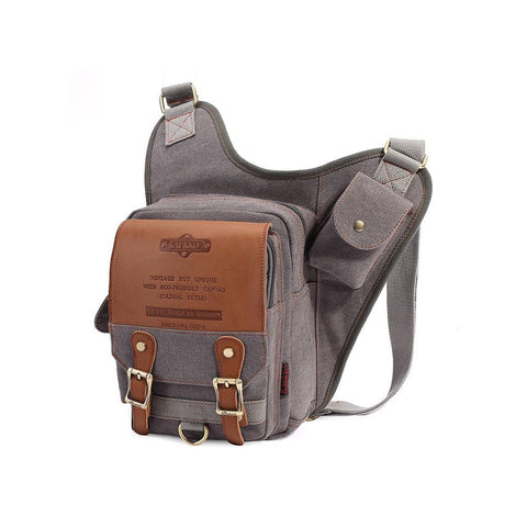 Retro Casual Shoulder Bag Sports Canvas Laptop Crossbody Bag ( grey )