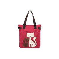 KAUKKO Cute Cat Totes Women Canvas Handbags ( Red )