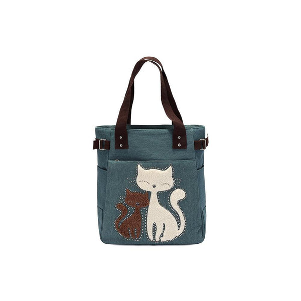 KAUKKO Cute Cat Totes Women Canvas Handbags ( Army Green )