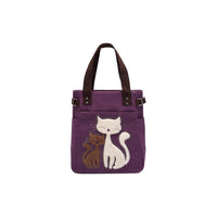 KAUKKO Cute Cat Totes Women Canvas Handbags ( Purple )