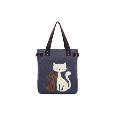 KAUKKO Cute Cat Totes Women Canvas Handbags ( Blue )