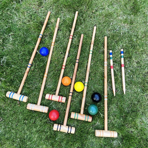 Premium Classic Outdoor Game Rubber Wood Croquet Set Game Set Six Players Fits for Adults &Kids