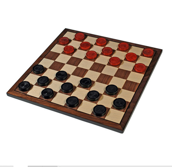 Custom Traditional Game Wood Checker Board with Red and Black Wood Checkers Fun For Families