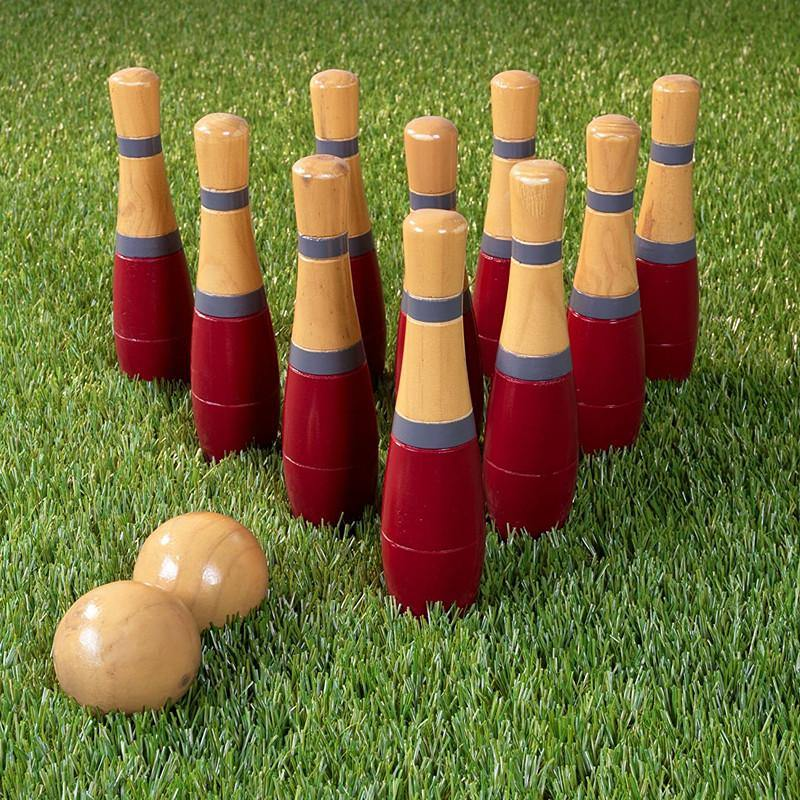 Outdoor Lawn Game Bowling Set/Skittle Ball Fun for Toddlers, Kids, Adults With Mesh Bag