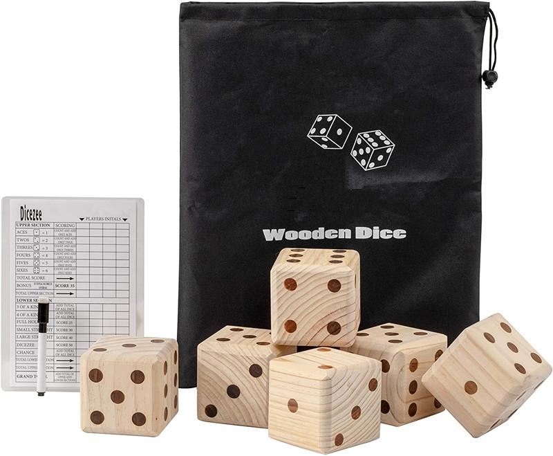 Giant Pine Wood 2.5 inch Dice Game Set Outdoor Wooden Dice Fun, Interactive Family Games