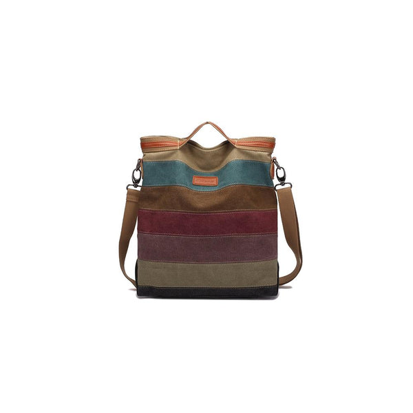 KAUKKO Women Multi-colored canvas stripe tote bag