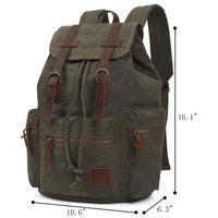 KAUKKO Vintage Casual Canvas and Leather Rucksack Backpack ( Army Green )