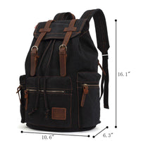 KAUKKO Vintage Casual Canvas and Leather Rucksack Backpack ( Black )