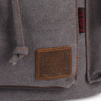 KAUKKO Vintage Casual Canvas and Leather Rucksack Backpack ( Grey )