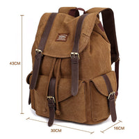 KAUKKO Outdoor School Backpack Travel Casual Hiking Rucksack Retro Canvas Bag ( Khaki )