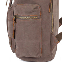 KAUKKO Vintage Casual Canvas and Leather Rucksack Backpack ( Light Coffee )