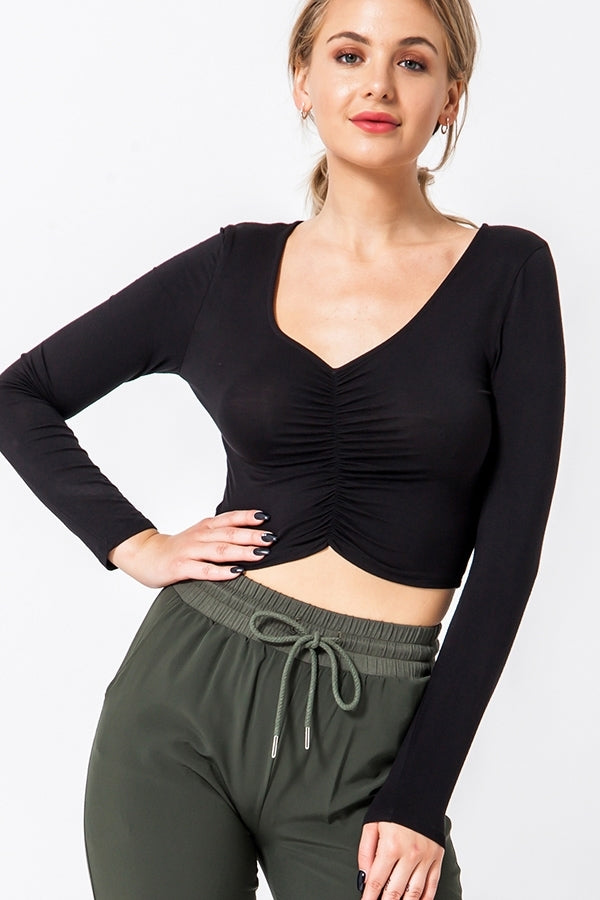 Long Sleeve Scrunched Crop Top