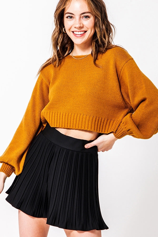 Ballon Sleeve Crop Sweater