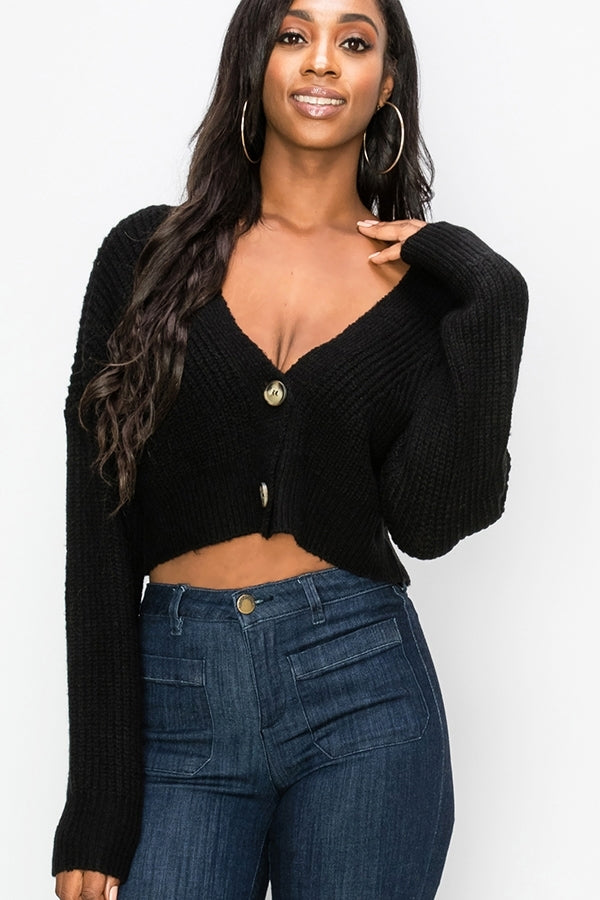 Two Button Crop Sweater