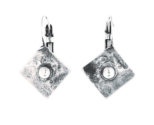 Metal Square Earrings with Center Divet