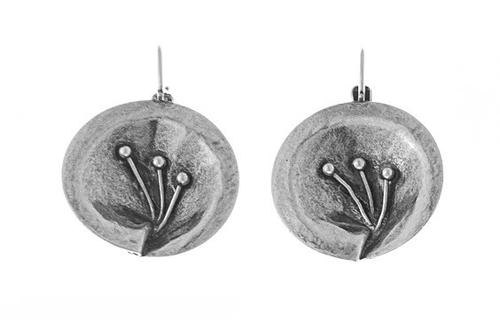 Circular Metal Earrings with Natural Deatail