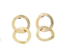 Two Metal Interlocked Hoops Earrings
