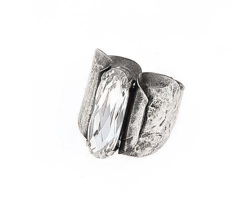 Metal Statement Ring with Large Crystal